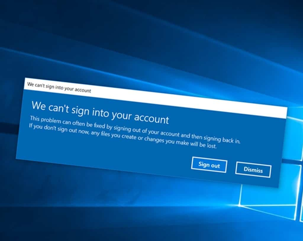 Can't sign into microsoft account windows 10