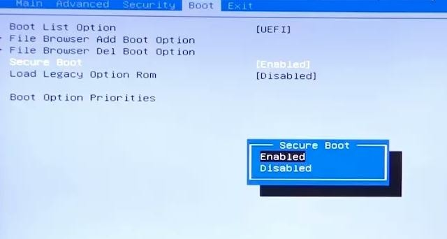 how to Enable or disable UEFI secure boot in windows 10