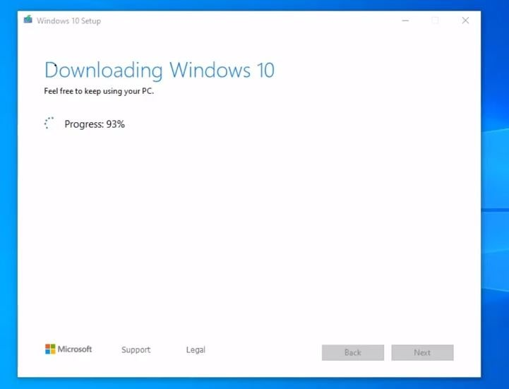 Downloading Windows 10
