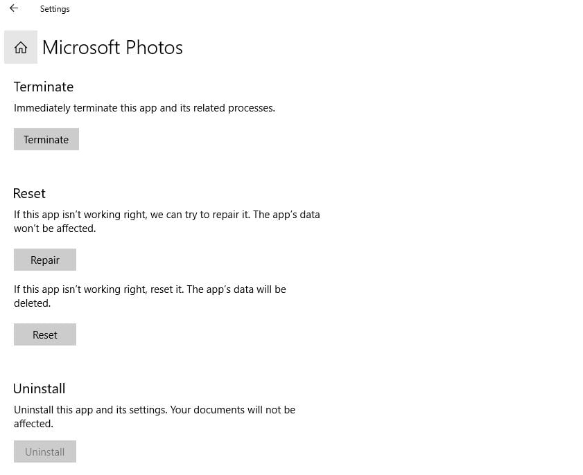 Reset Microsoft photos