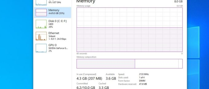 Check memory Details Windows 10